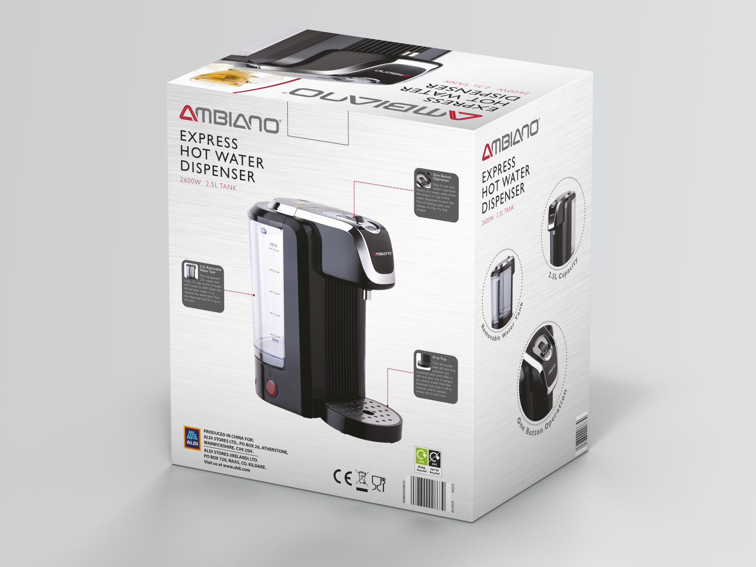 Aldi Ambiano hot water dispenser packaging design back view