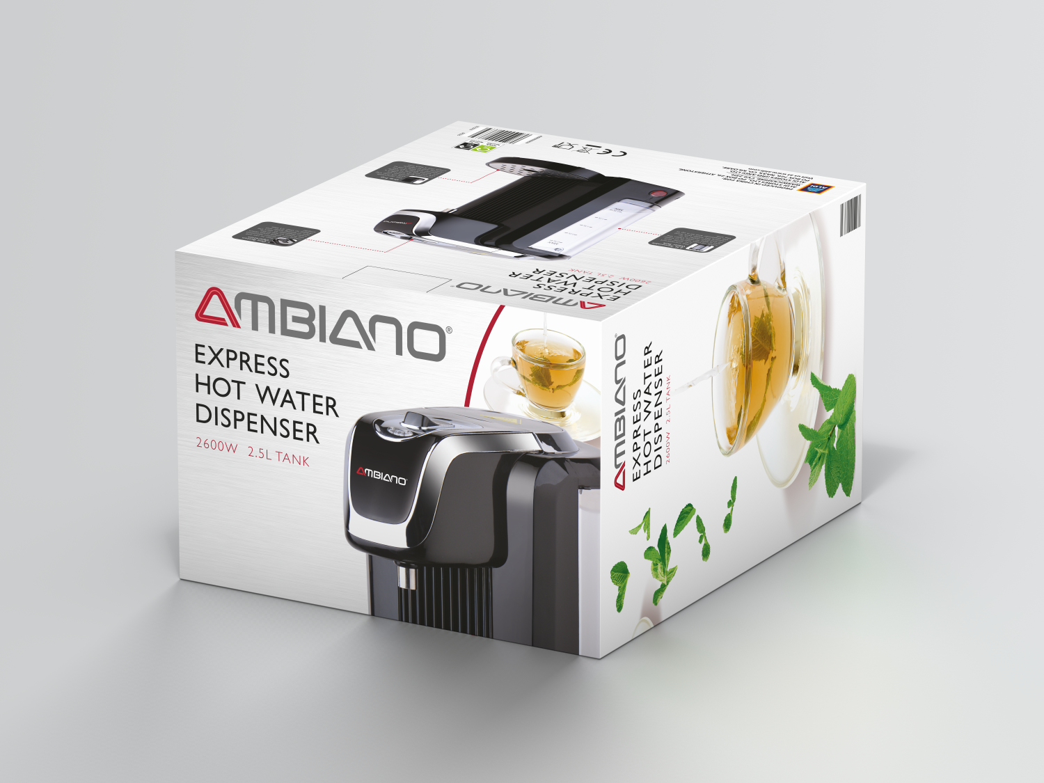 Aldi Ambiano hot water dispenser packaging design top