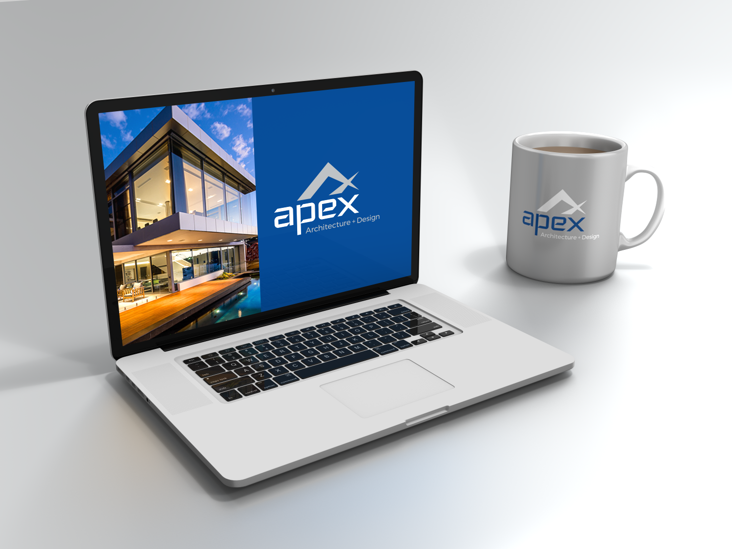 Apex Architecture and Design logo mockup on Macbook with branded Apex mug