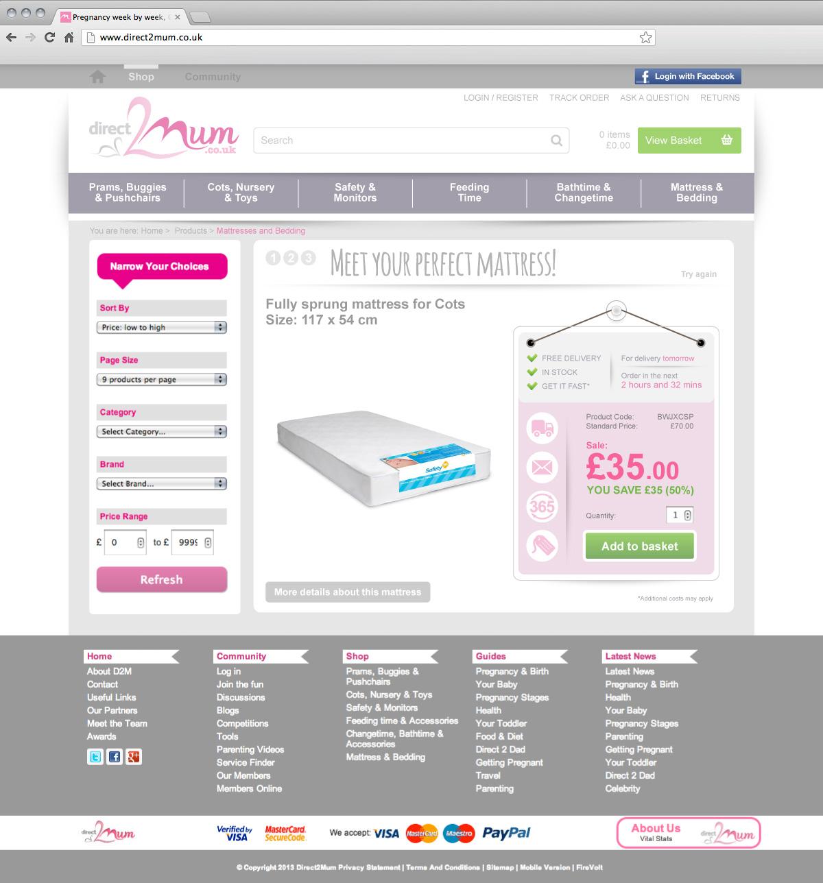 Direct 2 Mum website mattress builder tool