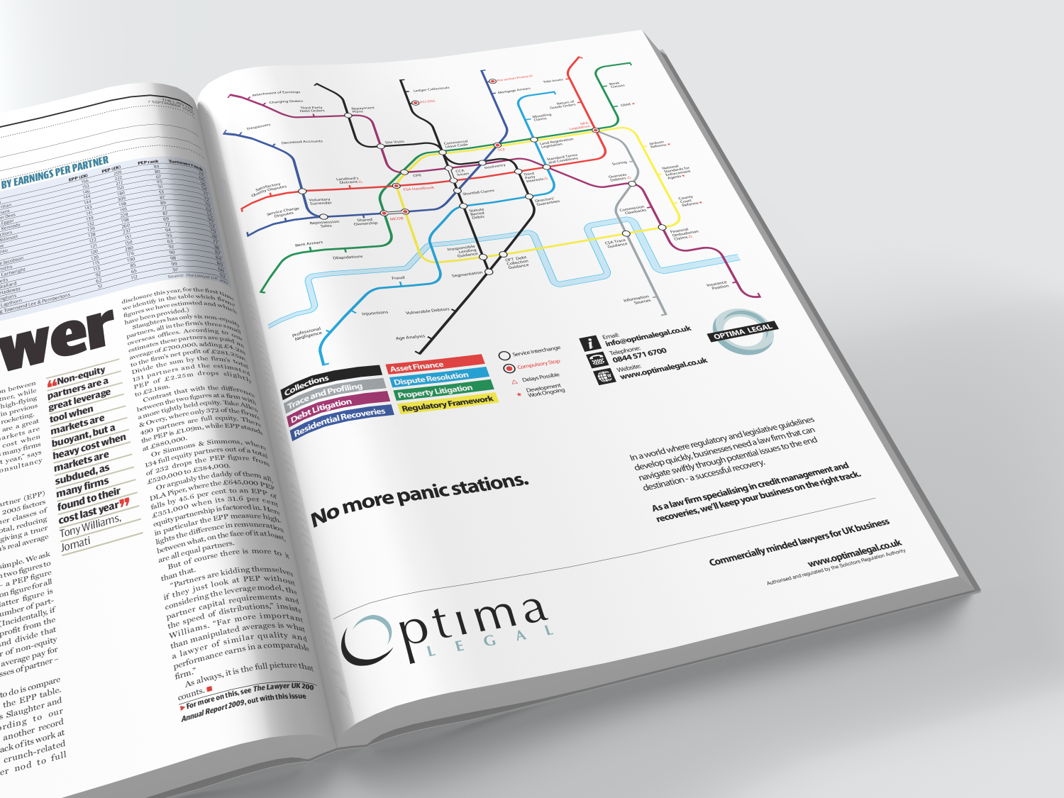 Press advert design for Optima Legal designed by 30two