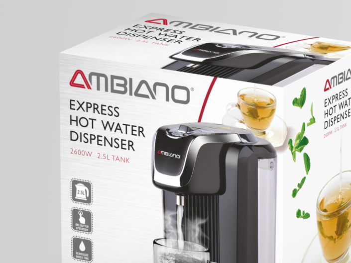 Aldi Ambiano hot water dispenser packaging design cropped